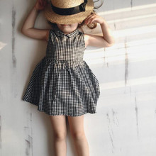 New Toddler Girl Plaid Dress Baby Summer Beautiful Tutu Dresses Sweet Design Twirl dress Black Print Clothes G015