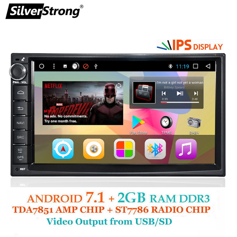 SilverStrong Android7.1 Universel 1Din 7 pouces GPS De Voiture Radio Auto Stéréo De Voiture radio magnétophone avec DAB + 707T3