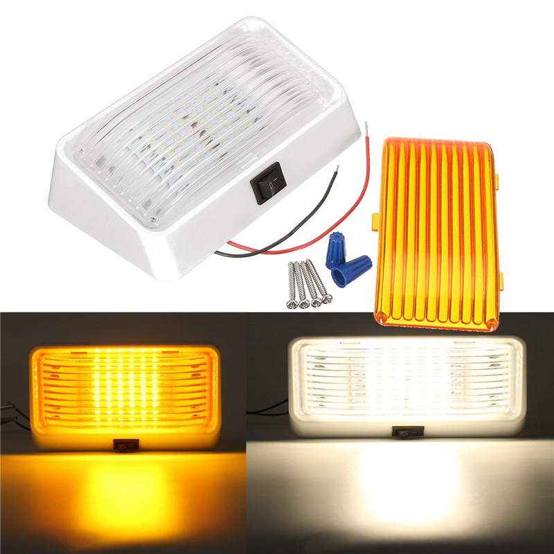 24 LED Roof Ceiling Interior Reading Dome Light For Camper Car RV Boat Trailer 12V Porch Light Rectangle Clear Amber Lens Switch