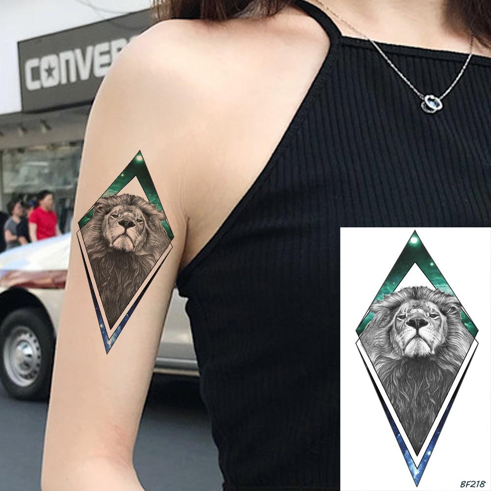 Arm Galaxy Africa Lion Animals Flash Fake Temporary Tattoo Stickers Women Men Body Art Tattoos Custom Diamond Waterproof Tatoos