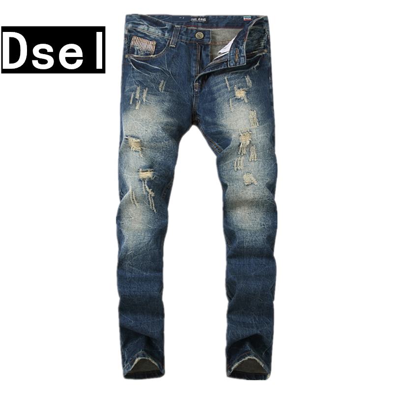 Fashion Men`s Jeans Ripped Trousers Dsel Brand Jeans Men Slim Straight Fit Denim Blue Jeans High Quality Long Jean For Men SK10 patch jeans ripped trousers male slim straight denim blue jeans men high quality famous brand men s jeans dsel plus size 5704
