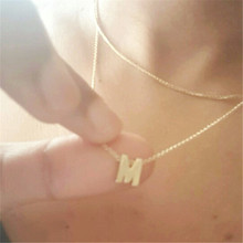 Tiny gold initial necklace gold letter necklace initials name pendant for women