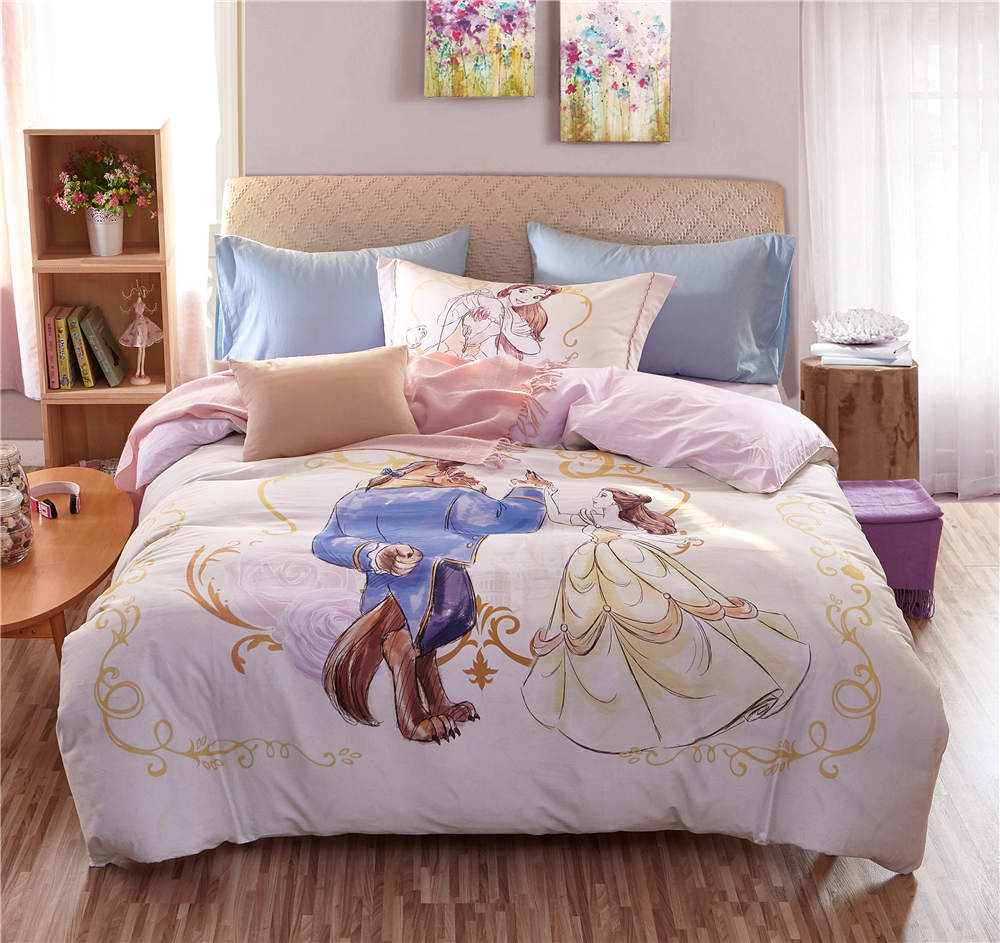. US  73 13 31  OFF pink Beauty and the Beast Disney Cartoon 3D Printed  Bedding Set for Girls Bedroom Decor Cotton Quilt Duvet Cover Twin full  queen in