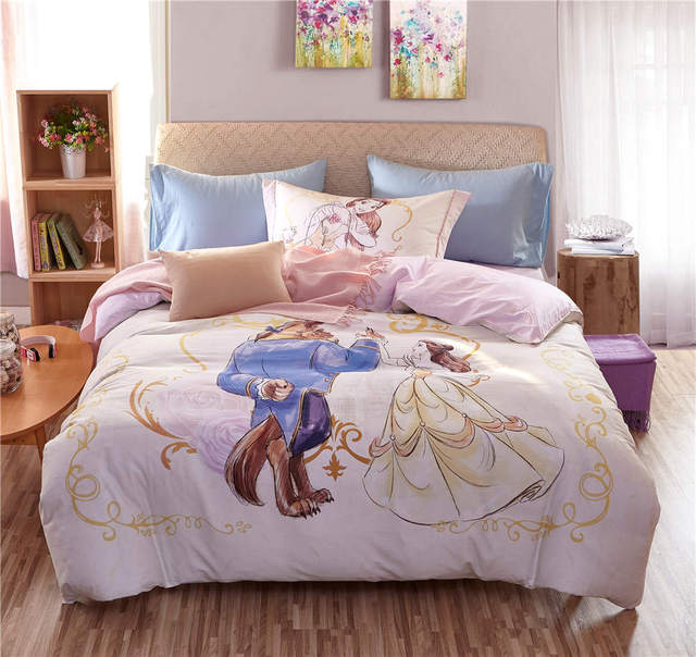 pink Beauty and the Beast Disney Cartoon 3D Printed Bedding Set for ...