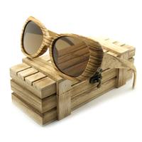 BOBO BIRD Wood Bamboo Polarized Sunglasses Colorful Coating Mirrored UV Protection Eyewear In Original Box