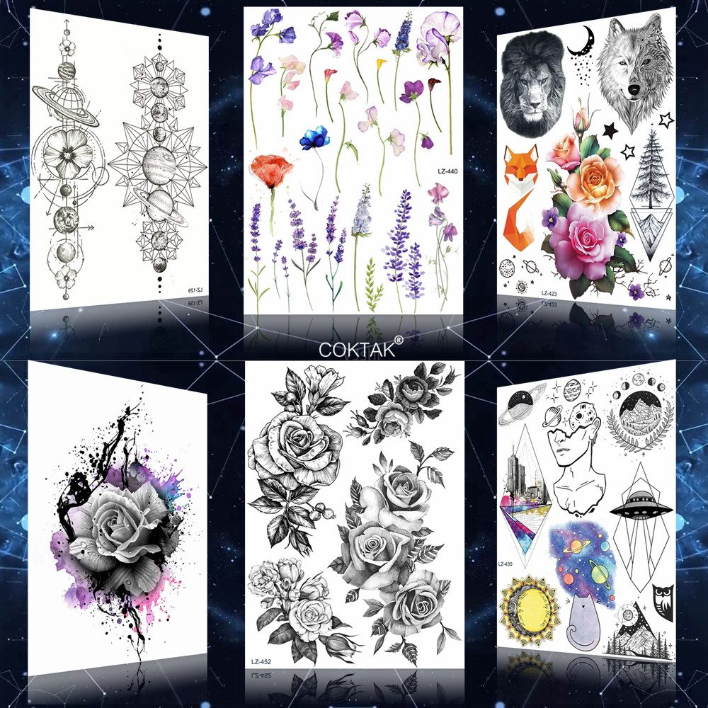 Sexy Lavender Women Lily Flower Black Flower Tattoos Stickers For Girls Women Temporary Tattoo Big Custom 3D Flora Tatoos Arm