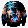 2015 nueva llegada moda hombre divertidos sudaderas 3d pésimo ferocidad animales impreso hoodies galaxy hoody top