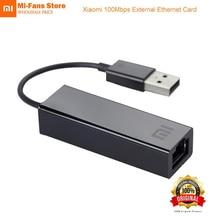 Original xiaomi usb externo rápido ethernet cartão rj45 mi usb2.0 para ethernet cabo lan adaptador 10/100 mbps placas de rede para computador portátil