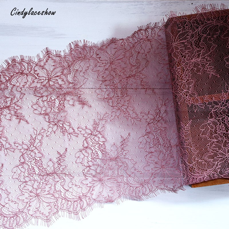 3 Meter 23.5cm Wide Dark Cameo Eyelash Lace Trim Fabric Flower DIY Crafts Wedding Dress Clothing Lngeire lace material Handmade