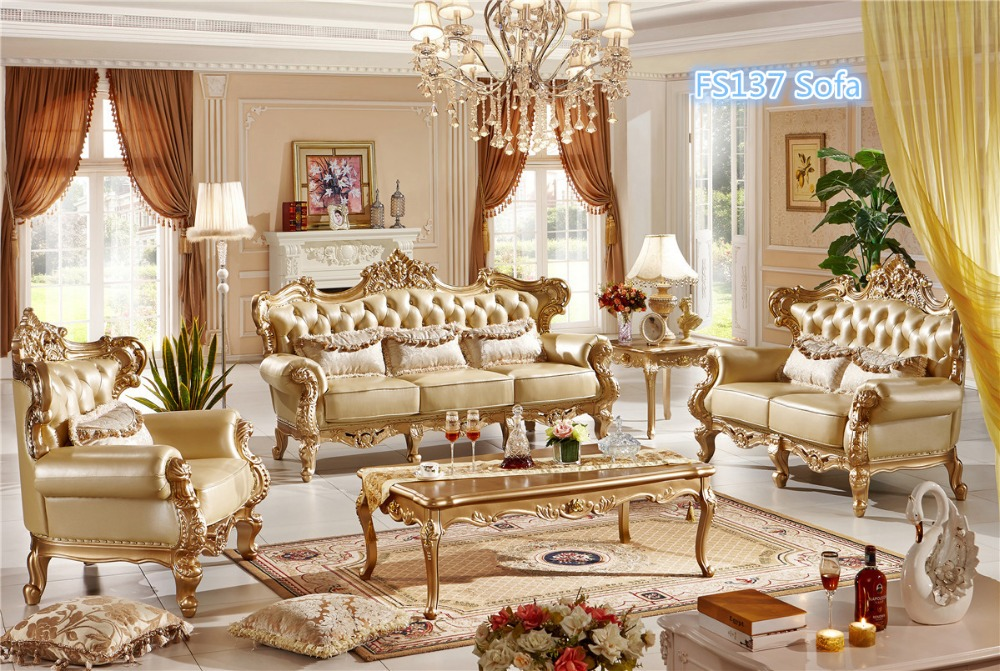 US $3750.0 |0409 House design champagne gold sofa set,simple luxury style  leather sofa set-in Living Room Sets from Furniture on Aliexpress.com | ...