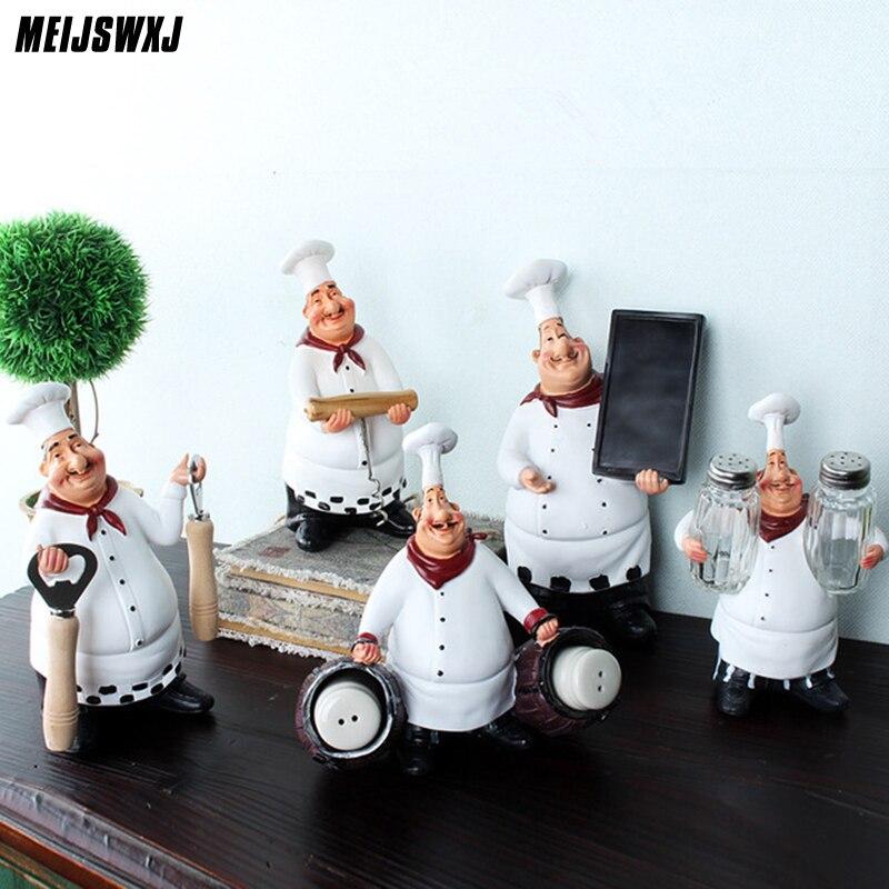 Chef Resin Crafts Vintage Home Decor Chef Furnishing Ornaments Artesanato Figurine Decoration Cook Kitchen Restaurant Bar Cafe