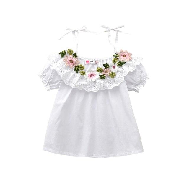 2adcbd68eec96 Blouses en coton d'été petites filles chemises à épaules dénudées chemises  blanches haut pour