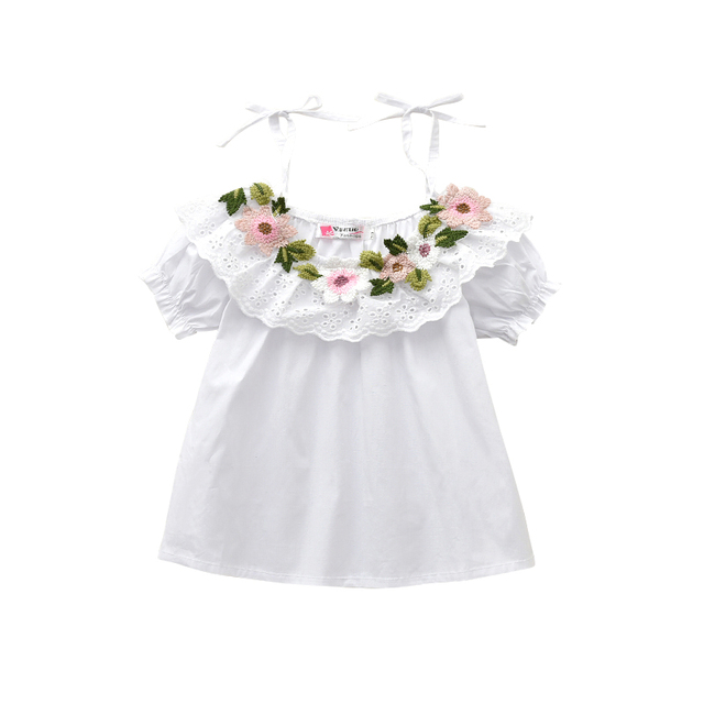 Summer Cotton Blouses Little Girls Shirts Off Shoulder White Shirts