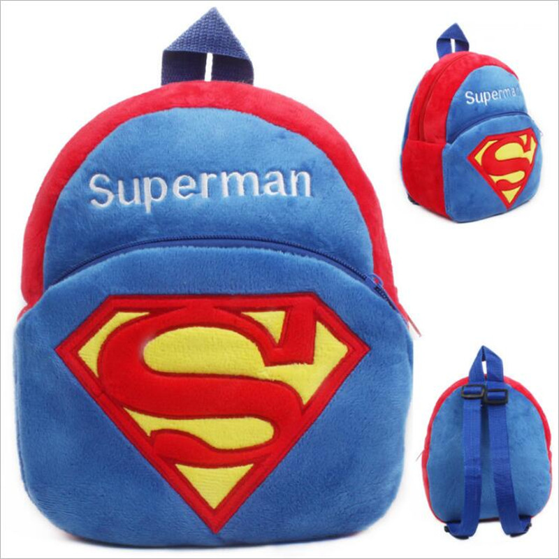New Arrival 3D Cartoon Superman Pikachu Minions Plush Children Backpack Girls Boys Christmas Gifts