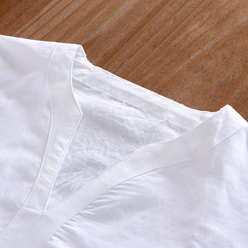 New 2018 linen shirt men casual cotton Breathable white soft three quarter shirts man camisa masculina Plus size 4XL 5XL TX55 in Casual Shirts from Men 39 s Clothing