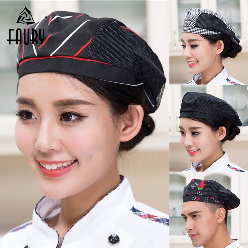 Men Women Mesh Patchwork Chef Restaurant Kitchen Cooking Work Wear Hats Beret Hotel Bakey Cafe Waiter Breathable Cap 56-58cm