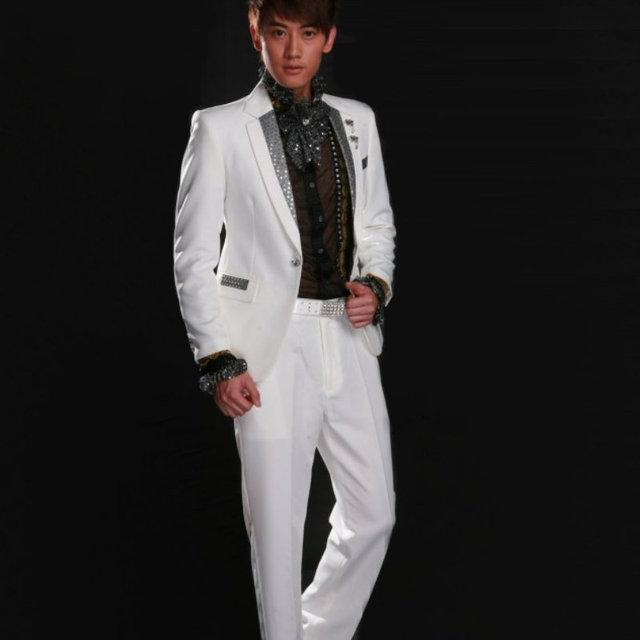 HOT ! 2019 New Fashion Men Formal Dress White Paillette