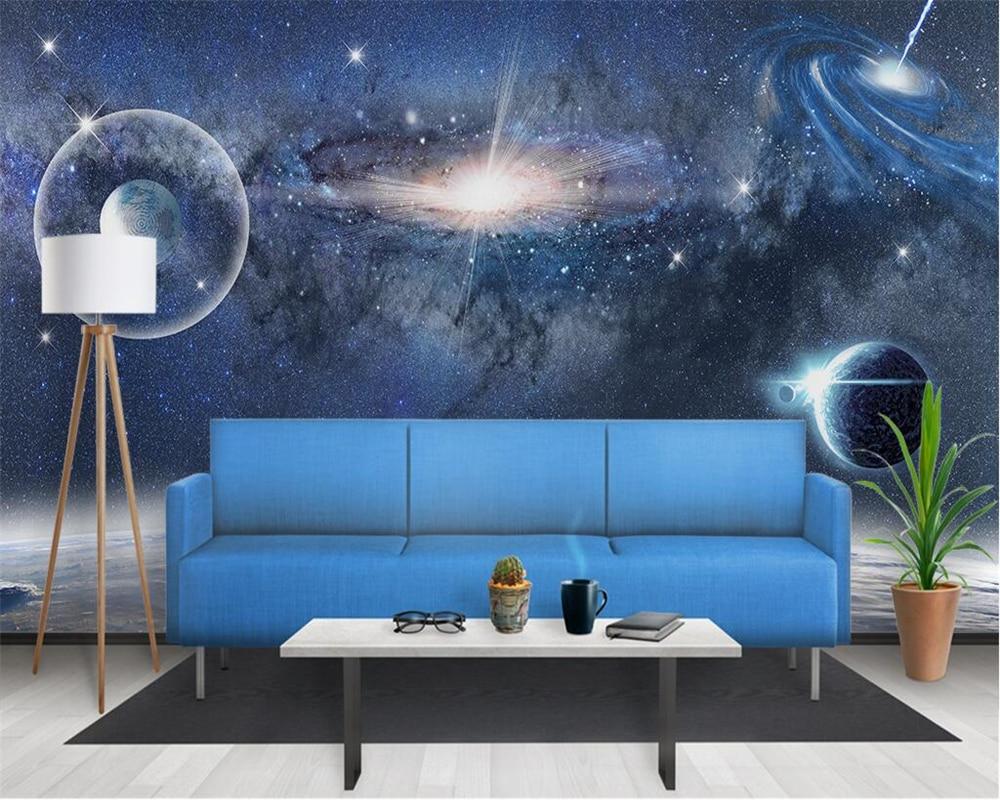 Beibehang Foto Wallpaper 3D Estetika Berbintang Ruang Lubang Hitam Latar Belakang Ruang Tamu Kamar Tidur TV