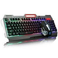 Радуга желтый светодиодный Подсветка USB проводной Pro Gaming Клавиатура геймера клавиатура + 6 кнопок 3200 Точек на дюйм Pro Gaming Мышь Gamer мыши