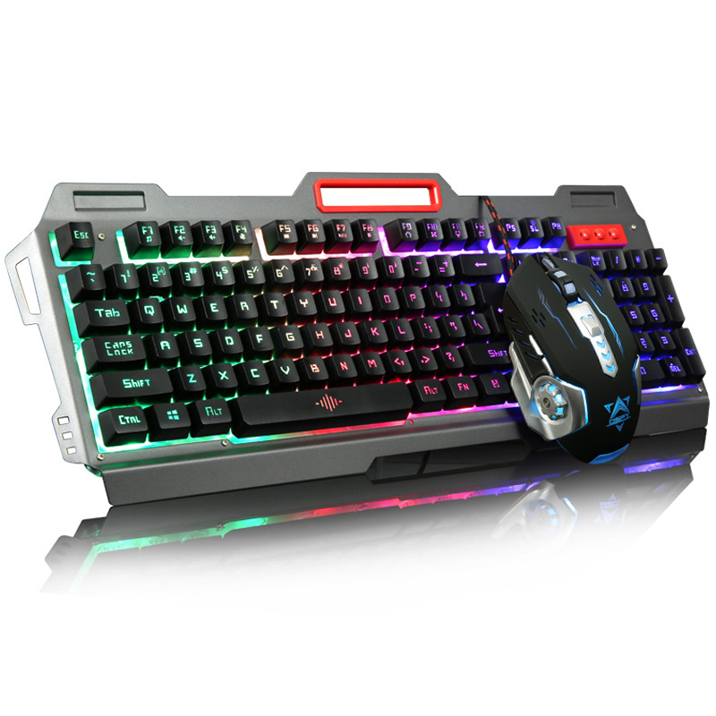 Rainbow Yellow LED Backlight USB Wired Pro Gaming Keyboard Gamer Keyboard+6 Buttons 3200 DPI Pro Gaming Mouse Gamer Mice