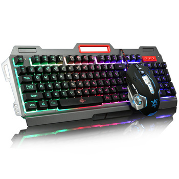 Rainbow Yellow LED Backlight USB Wired Pro Gaming Keyboard Gamer Keyboard+6 Buttons 3200 DPI Pro Gaming Mouse Gamer Mice เมาส์