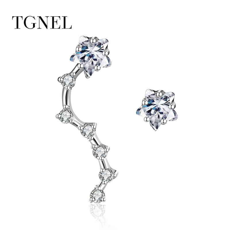 TGNEL 925 Sterling Silver Drop Earrings Trendy 2018 Fine Jewelry for Women Cubic Zircon Ear Crawler Earrings for Women Earring in Earrings from Jewelry Accessories