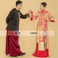 Asian style bride and groom suit lovers Red Black costume wear Oversea chinese dragon gown Long Robe married kimono