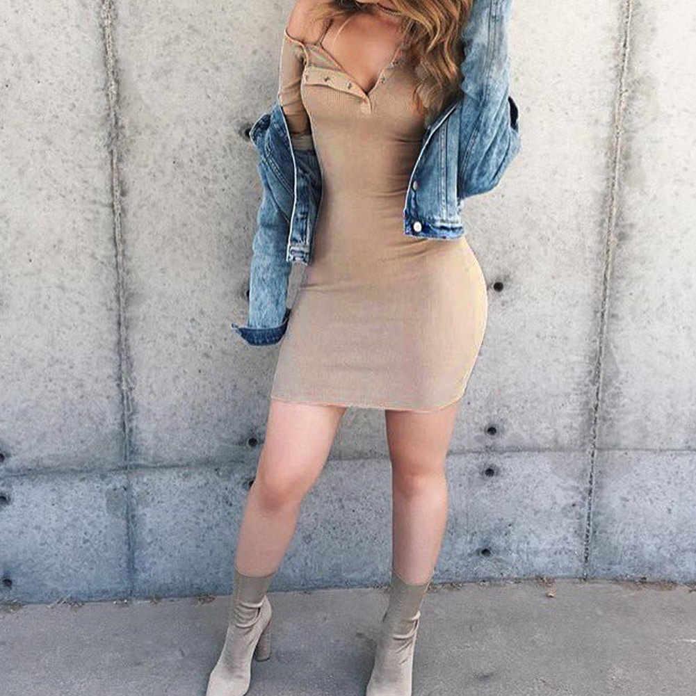 Женская облегающая футболка, платье с открытыми плечами, с длинным рукавом, мини-платье, на одно плечо, на пуговицах, спереди, эластичное платье, горячее летнее платье