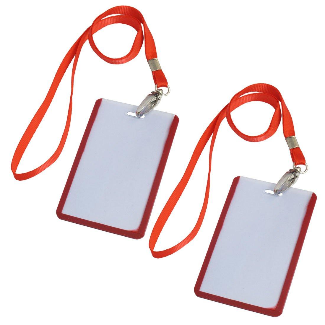 Affordable 2 Pcs School Office Red Lanyard Vertical B8 ID Name Badge Card Holders