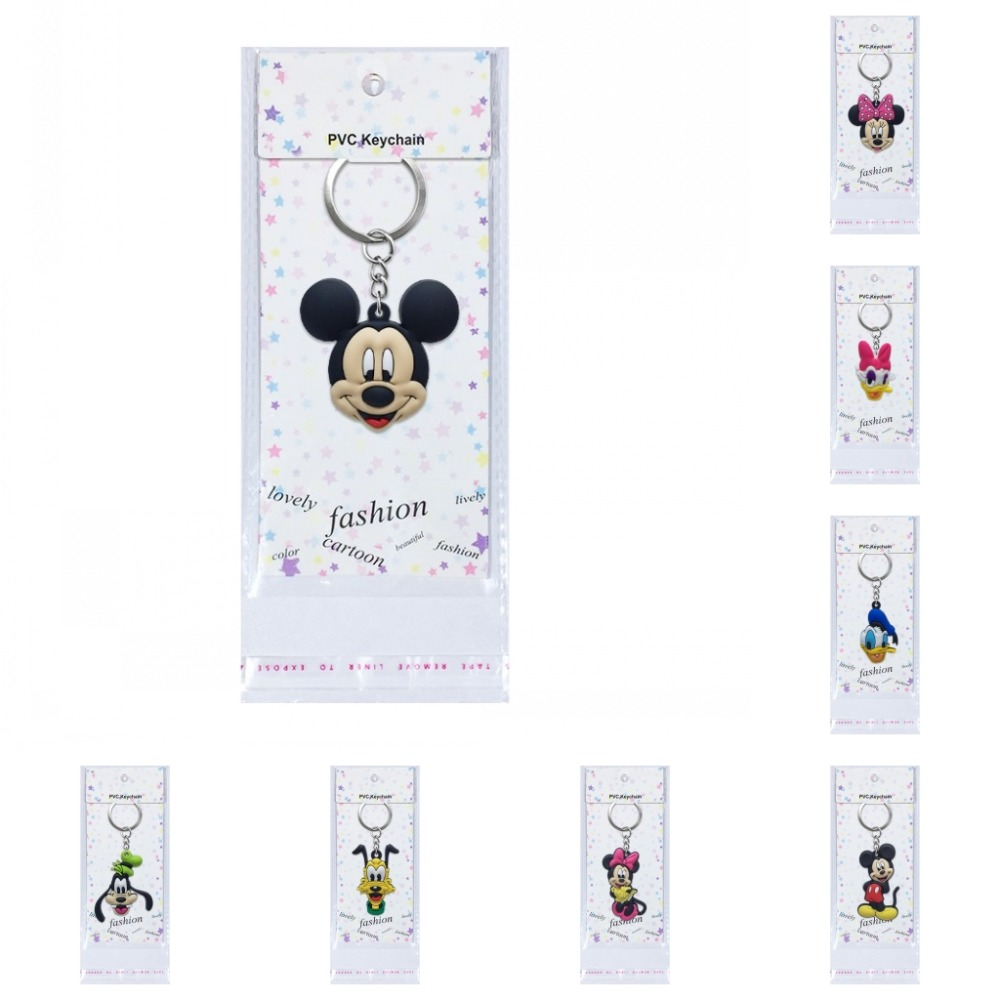 1PCS Mickey Cartoon Key Chain Mini Anime Figure Minnie Key Ring With Packing Hanging Key Holder Fashion Charms Trinket