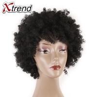Xtrend Sintético Afro Rizada rizada Peluca de Pelo Corto de 6 pulgadas Natural Negro Pelucas de Cosplay Ajustable Para Mujeres de Fibra de Alta Temperatura