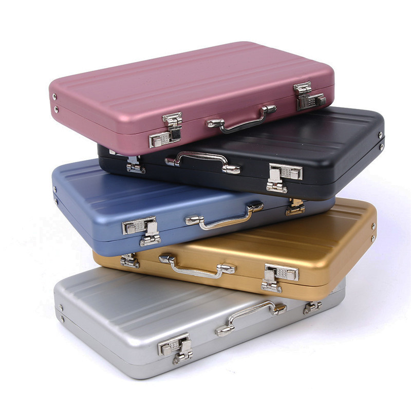 Mini Aluminum Safe Suitcase Briefcase Business Bank Card Holder Box Case New KV
