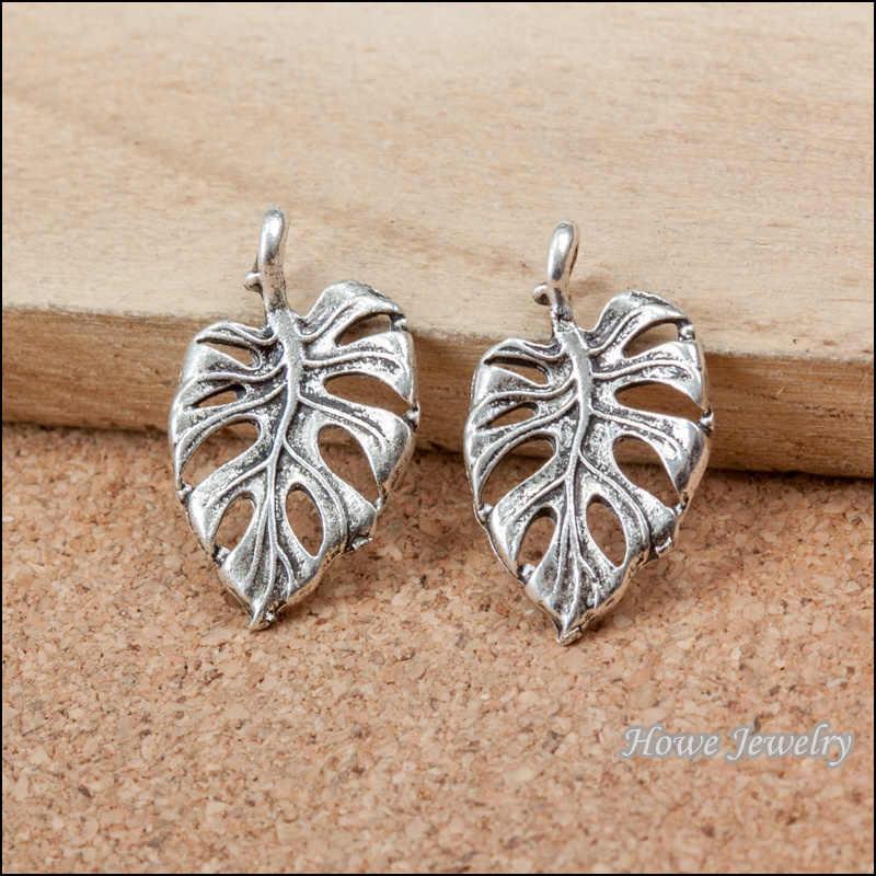 30 cái cây lá Antique bạc hợp kim Pendant Phong Cách châu âu jewelry phát hiện B273
