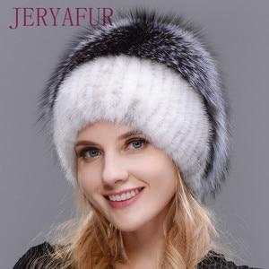 Image 2 - 女性新冬の毛皮キャップフード付きヘッド本物のミンクの毛皮の帽子と銀キツネの毛皮花柄帽子高品質毛皮ファッション帽子