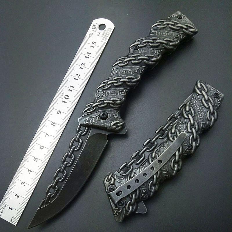 چاقو تاشو زنجیره ای تاشو تاشو تاشو تاشو چاقو تیغه ابزار در فضای باز ابزار با کیفیت بالا حک کردن چاقو همه فولاد ضد زنگ 3D