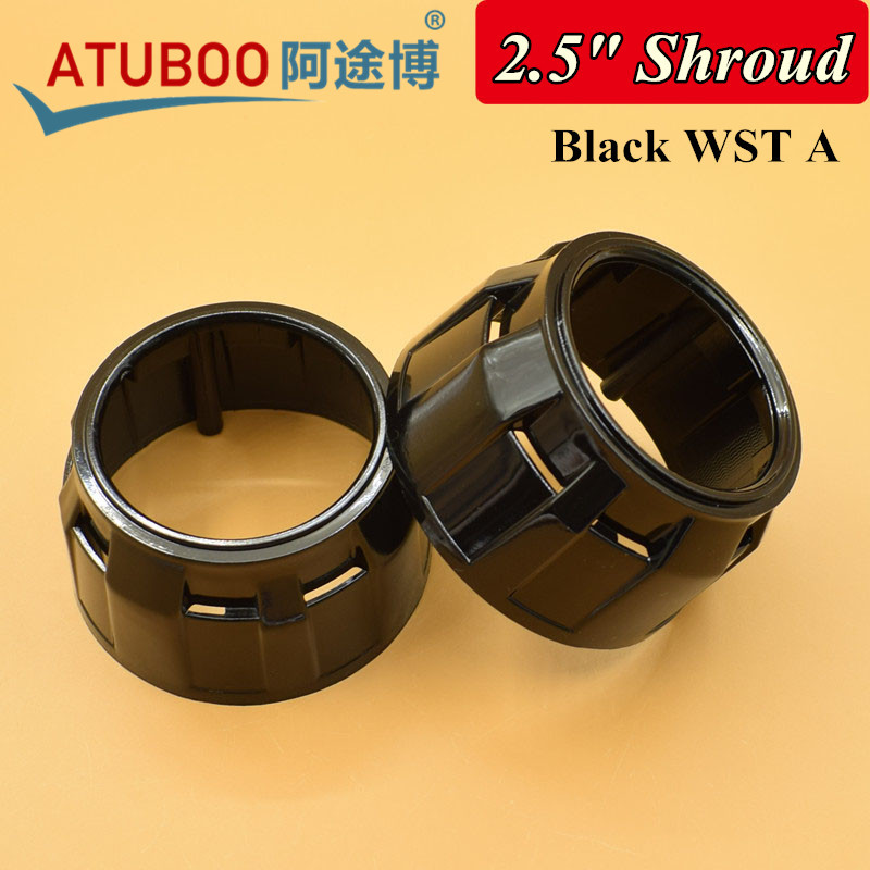 Black WST A,Projector Lens Shroud For 2.5 Bi-xenon Projector Chrome Mask Lens Cover Bezel Shroud Car Headlight Retrofit Cap