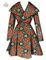 BRW 2017 Африканских Пальто Традиционные Моды Женщин Пиджаки Плюс Размер Африка Базен Riche Dashiki отложным Воротник Trenchcoat WY1112