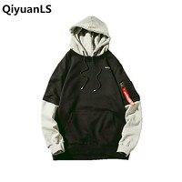 QiyuanLS Men Patchwork Pullover Hoodie Fashion Sweatshirts Brand Orignal Design Casual Male Hip Hop Hoodies Streetwear