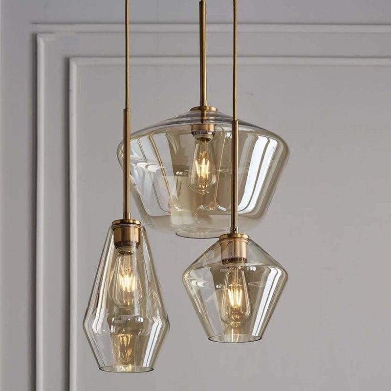 Rétro moderne verre pendentif lumière Art abat-jour lampe coloré plafond boule fumé ambre clair Vintage Loft lampes Bar décor lampe