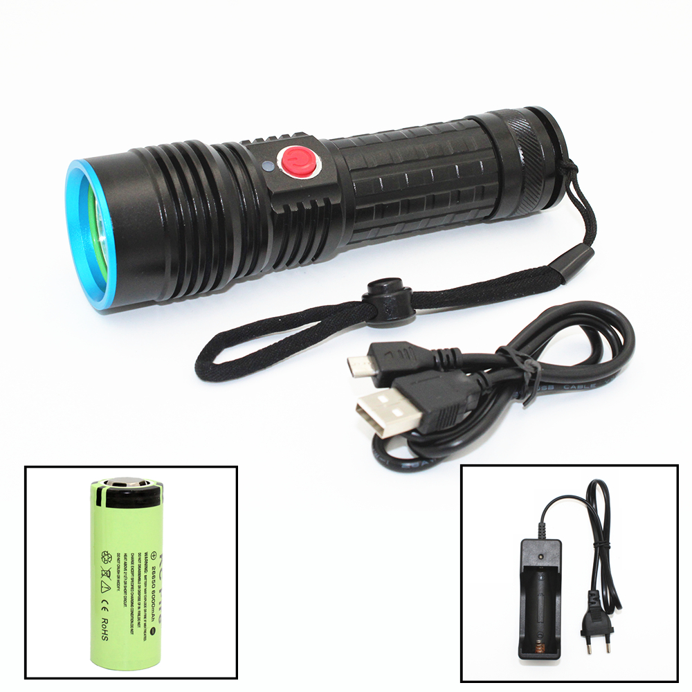 USB Rechargeable Flashlight CREE XM-L2 LED 4 Modes Light Outdoor Hunting Torch Lamp with compass design 3800 lumens cree xm l t6 5 modes led tactical flashlight torch waterproof lamp torch hunting flash light lantern for camping z93