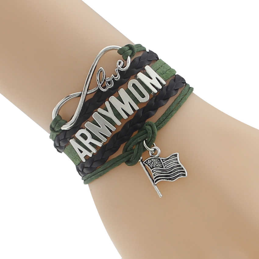 Drop Shipping Infinity/ Love New Type Army Mom Bracelet- Black with Green Custom Department Defense Team Gift