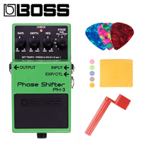Boss PH 3 Phase Shifter Guitar Effects Pedal Bundle with Picks, Polishing Cloth and Strings Winder