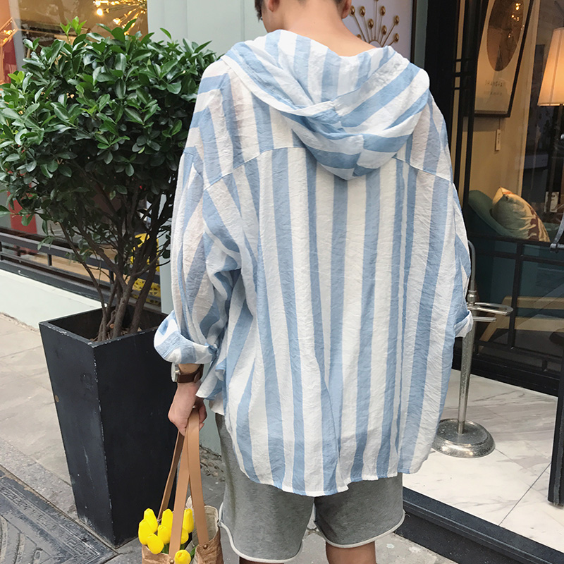 2019 Summer Casual Streetwear Long Sleeve Fashion Korean Style Striped Hooded Mens Shirt
