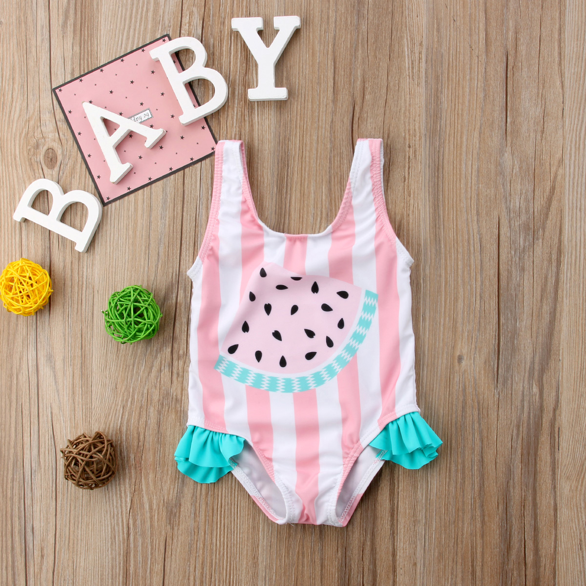 Pudcoco Newest Fashion Newborn Baby Girl Swimwear Watermelon Striped Swimsuit Swimming One-Piece Bikini
