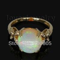 Фантазия Круглый 10 мм дамы 14Kt желтого золота с бриллиантами Природный Опал кольцо WU015