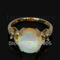 FANTASY Round 10mm Ladies 14Kt Yellow Gold Diamond Natural Opal Ring WU015