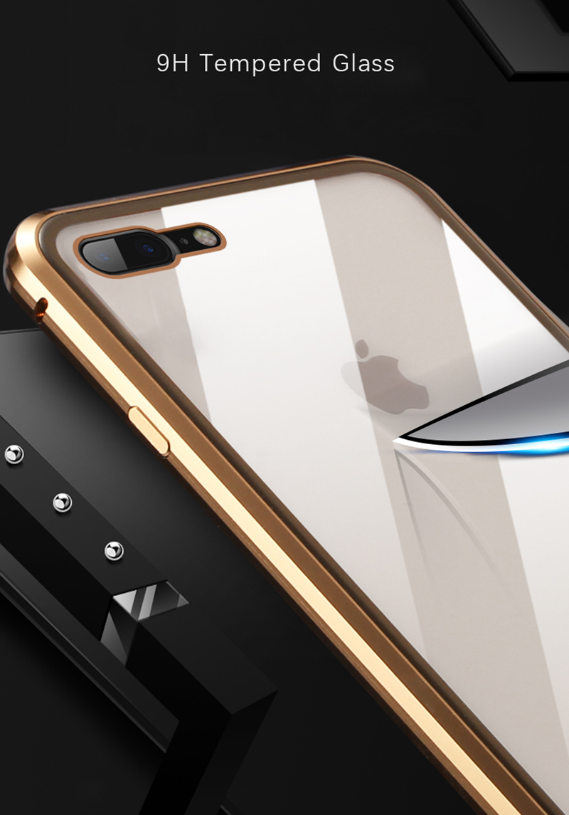 Luxury Double sided front+back clear glass metal Magnetic case for iphone 7 8 plus iphone X XR XS Max phone case 360 cover coque (10)