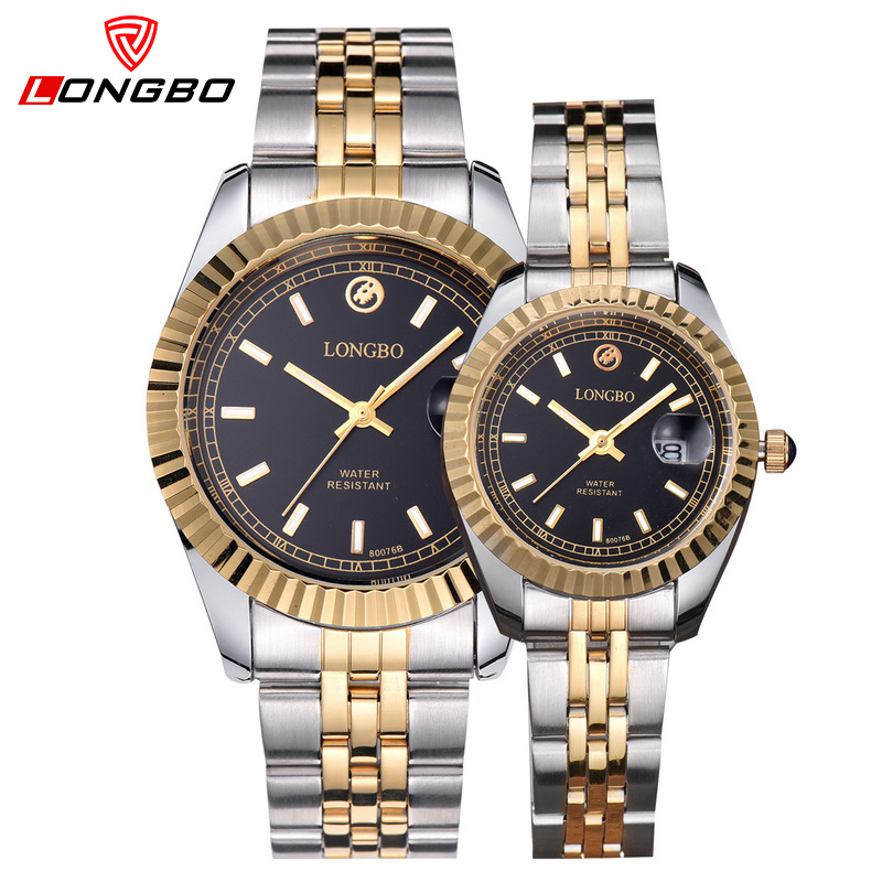LONGBO Luxury brand lovers watches couple waterproof stainless steel gold quartz watch men women dress business clock 80076 ultrathin couple watches for men waterproof stainless steel watch male table women quartz watch female form valentines day gift