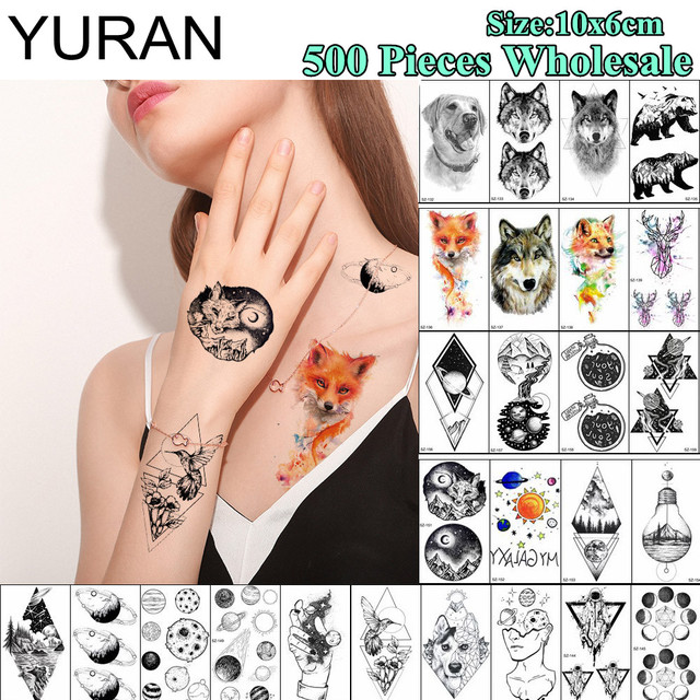 29fb134ac YURAN 500 Pieces Wholesale Waterproof 10x6CM Tattoo Temporary Fox Planet  Body Art Tatoo Sticker Men Women Arm Neck Fake Tattoos