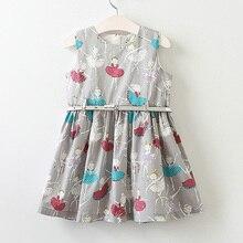 Hurave 2017 Girls summer girls dress with belt cute toddler kids clothes fashion girls dress print princess dresses